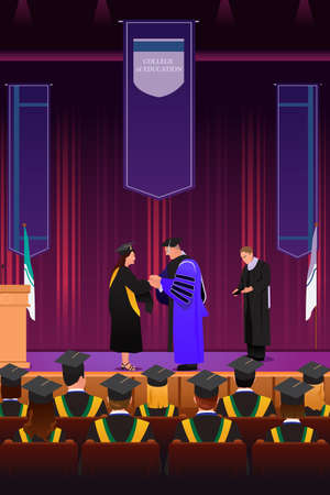 accomplishments: A vector illustration of graduation girl shaking hand with dean at podium