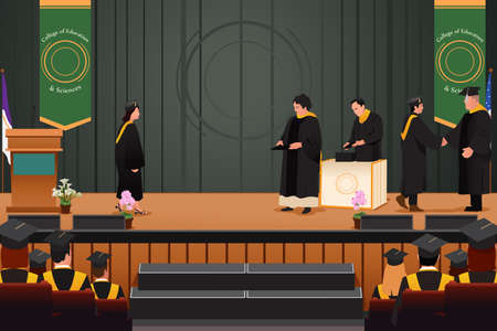 A vector illustration of graduation girl at podium Çizim