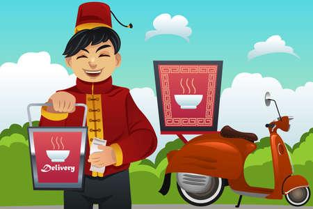 delivering: A vector illustration of man delivering Chinese food