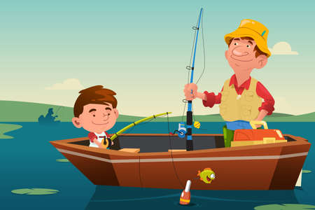 father and son: A vector illustration of father fishing together with his son on a boat