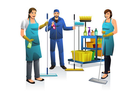 janitor: A vector illustration of professional cleaner people with janitor cart Illustration