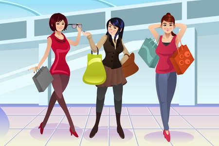 amistad: Una ilustración vectorial de la mujer moderna de compras en el centro comercial