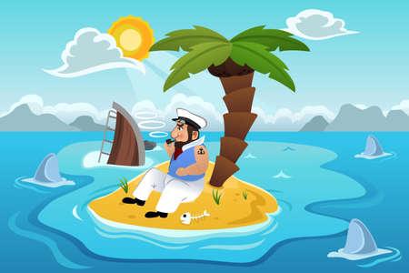 Une illustration de vecteur d'un marin échoué dans une île Vecteurs