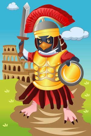 A vector illustration of gladiator bird Illustration