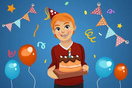 tortas de cumpleaños: Una ilustración vectorial de cumpleaños de niño que sostiene una torta de cumpleaños