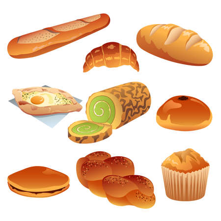 puff pastry: A vector illustration of pastry icon sets Illustration