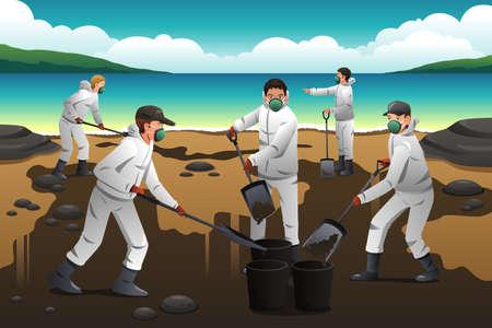 oil worker: Una ilustraci�n vectorial de la gente despu�s de la limpieza de un derrame de petr�leo Vectores