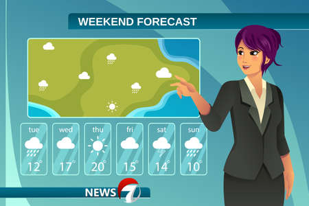 A vector illustration of tv weather news reporter at work