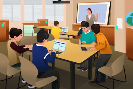 teacher student: A vector illustration of kids in a computer programming class