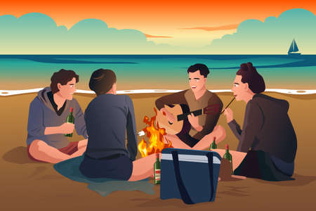 bonfire: A vector illustration of happy young people having fun on the beach