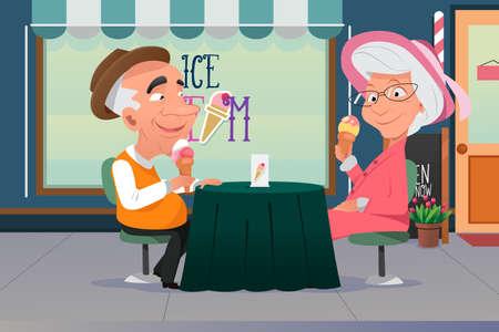 Een vector illustratie van de oude opa en oma eten van ijs samen
