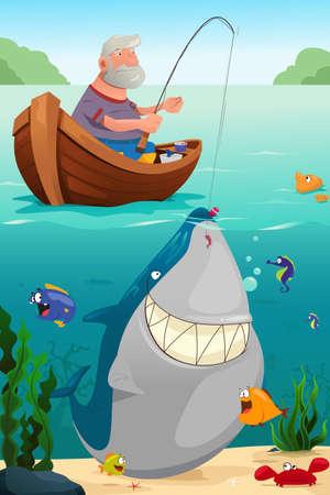 Une illustration de vecteur de vieux homme qui pêche dans le lac