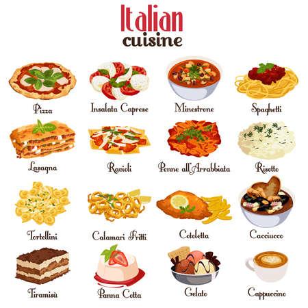 Una ilustración del vector de la cocina italiana conjuntos de iconos
