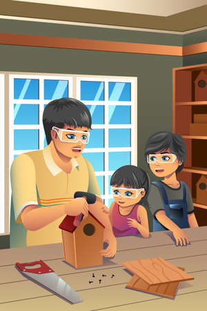 craft man: A vector illustration of father making birdhouse with his kids