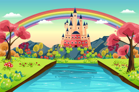 rainbow scene: A vector illustration of castle background