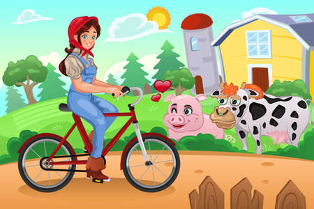 country girl: A vector illustration of country farm girl biking in a farm