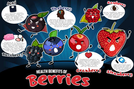 A vector illustration of health benefits of berries infographic Ilustração