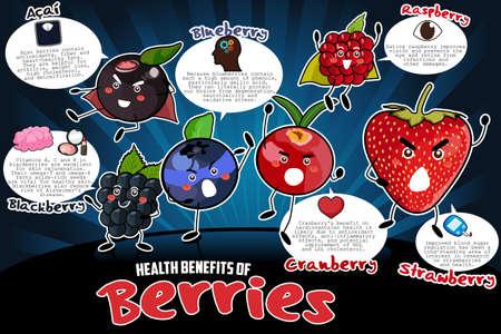 Een vector illustratie van de voordelen voor de gezondheid van de bessen infographic