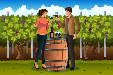 포도 수확: 포도원에서 와인을 마시는 부부의 벡터 일러스트 레이 션