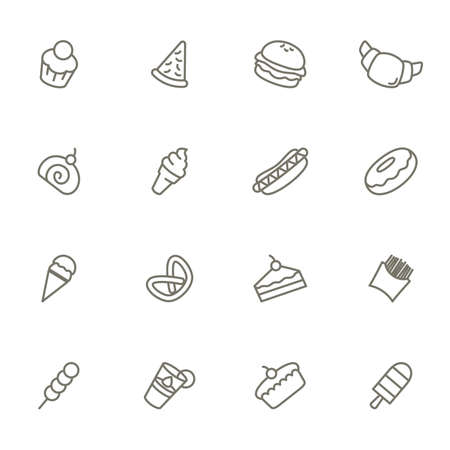 dessert: A vector illustration of dessert icons black and white
