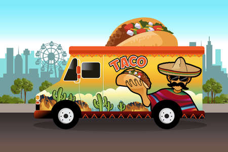 A vector illustration of taco food truck