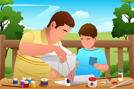 Vector father and son: Một minh họa vector của cha làm diều cùng với con trai của mình