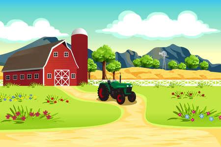 granja: Una ilustración vectorial de escena de la granja