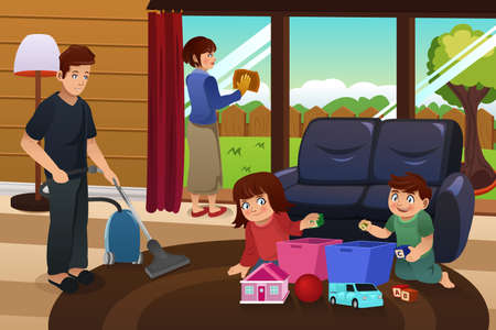 family indoors: A vector illustration of whole family cleaning house together