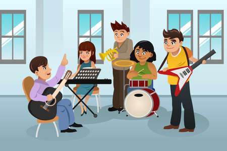 A vector illustration of Students learning instrument in music class