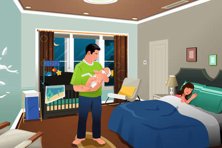 A vector illustration of father caring for a newborn child while mom sleeping Ilustrace