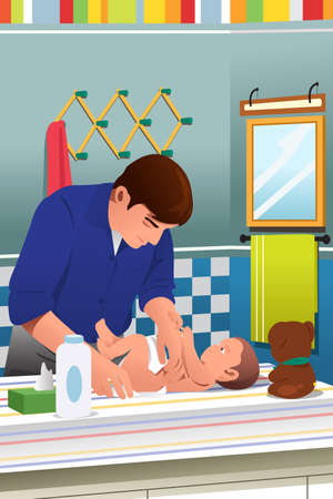 bonding: A vector illustration of father changing his child diaper in bathroom