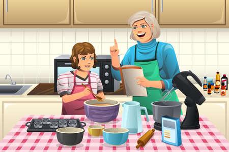 cocina caricatura: Una ilustración vectorial de la abuela prepara las galletas con su nieto en la cocina