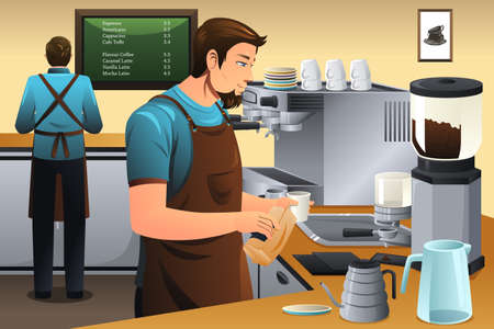 brewer: A vector illustration of barista preparing drip coffee in café