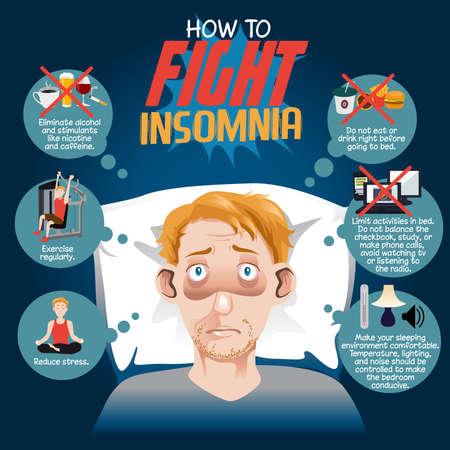 どのように不眠症のインフォ グラフィックを戦うためのベクトル イラスト