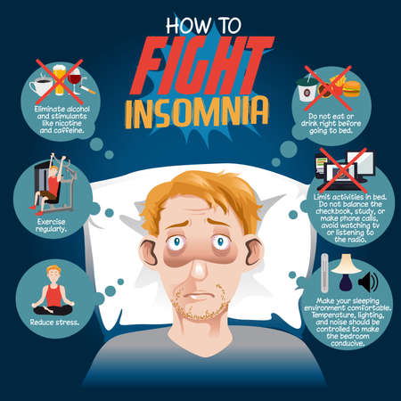 A vector illustration of how to fight insomnia infographic Vectores