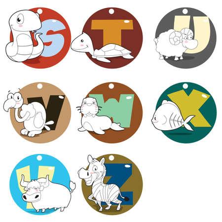 alfabeto con animales: Una ilustraci�n vectorial de los animales del alfabeto de la S a la Z