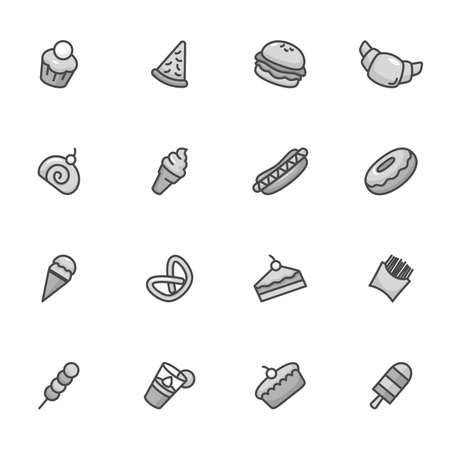 A vector illustration of dessert icons black and white