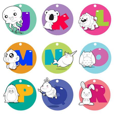 alfabeto con animales: Una ilustraci�n vectorial de los animales del alfabeto de J a R Vectores