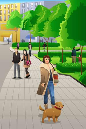 dog walking: A vector illustration of modern girl walking with her dog in the park Illustration
