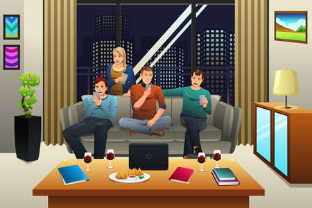 device: A vector illustration of people using digital device