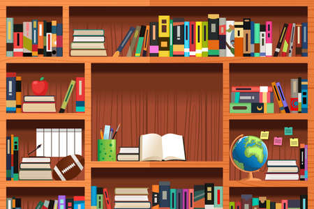 A vector illustration of wooden bookshelves with copyspace Illusztráció