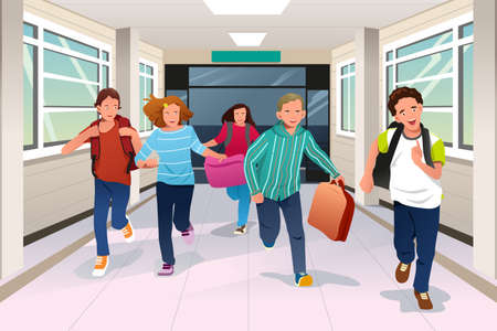 A vector illustration of happy student running in school hallway together