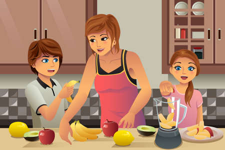 A vector illustration of kids helping their mother making fresh juice