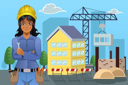 arquitecto caricatura: Una ilustración vectorial de contratista femenina de pie en frente de una casa Vectores
