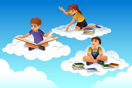 child sitting: A vector illustration of students sitting on a cloud and reading a book