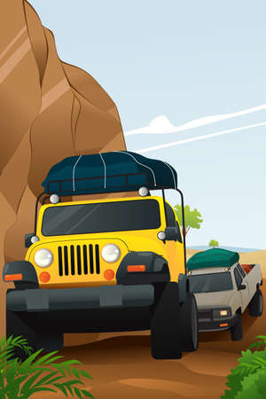 A vector illustration of offroad adventure on dirt road