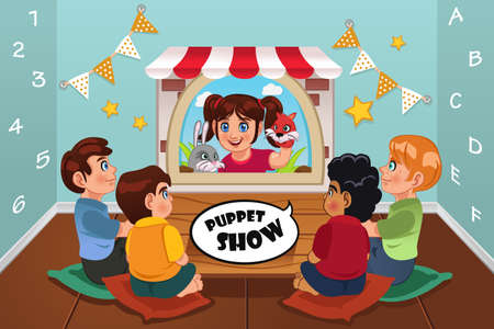 puppet show: A vector illustration of happy kids watching puppet show