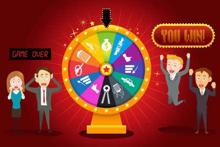 rueda de la fortuna: Una ilustración vectorial de los empresarios con la rueda de la fortuna financiera para los juegos de azar concepto