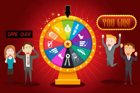 A vector illustration of businesspeople with financial wheel of fortune for gambling concept