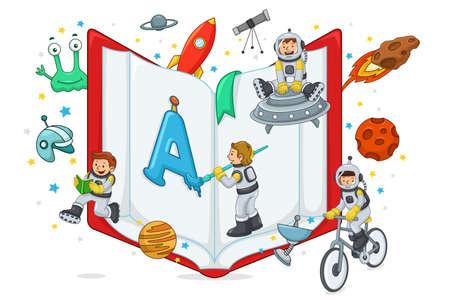 Una ilustración vectorial de niños jugando y la lectura con el libro abierto